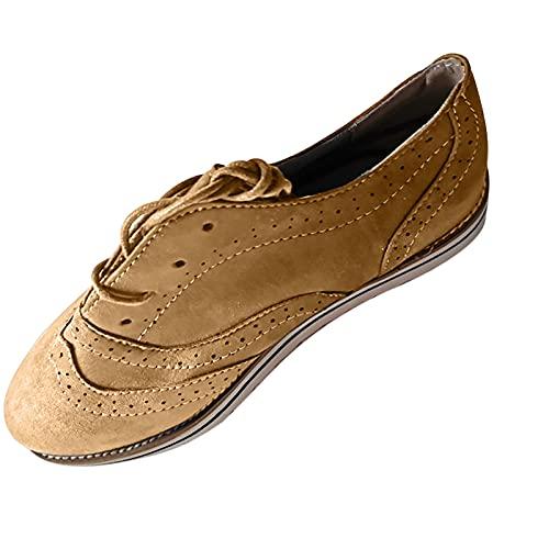 Fmkaieo Botines de mujer con tacón plano, botines de otoño vintage, con cordones, cómodos, con tacón corto, para el arco, marrón, 34