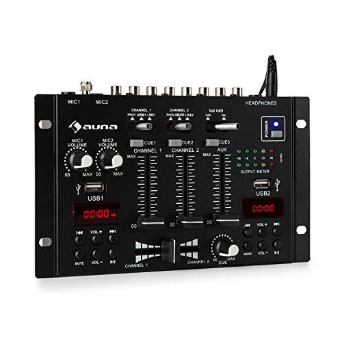 auna DJ-22BT MKII Mischpult, 3/2-Kanal-DJ-Mischpult, Bluetooth, 2 x USB, 2 Displays, Bluetooth, Ein- und Ausgänge im Cinch-Format, 3 x 6,3 Klinkenanschlüsse für Kopfhörer und 2 Mikrofone, Schwarz