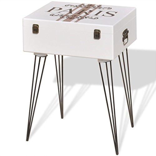 Mesita Auxiliar Vintage Decorativa Blanca 40x30x57 cm