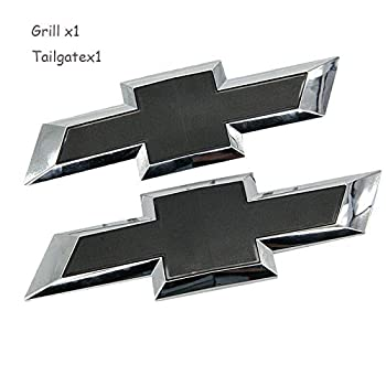 Cardiytools Black Front & Tailgate Bowtie Emblem for 2016 - 2019 GM Chevy Silverado 1500