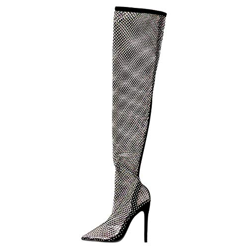 Richealnana Over the Knee High Boots Sparkle Studded Cut Out Stiletto Pumps Closed Toe Knitting High Heels Sexy Stripper Pumps Black Size 9