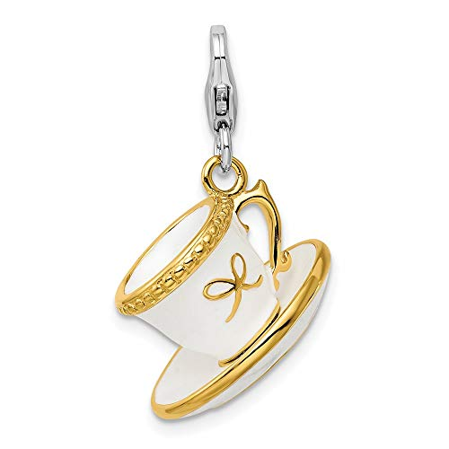 Ryan Jonathan Fine Jewelry Sterling Silver Gold Plated White Enamel Cup/Saucer with Lobster Charm Pendant
