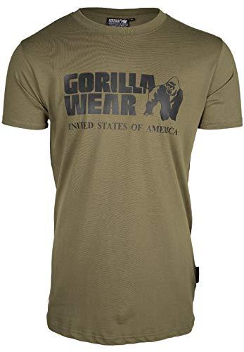 GORILLA WEAR Classic T-Shirt - grün - klassisches Oberteil mit Logo zum Sport Alltag Training Workout Laufen Joggen bequem Normale Passform leicht aus Baumwolle bewegungsfreiheit groß, L