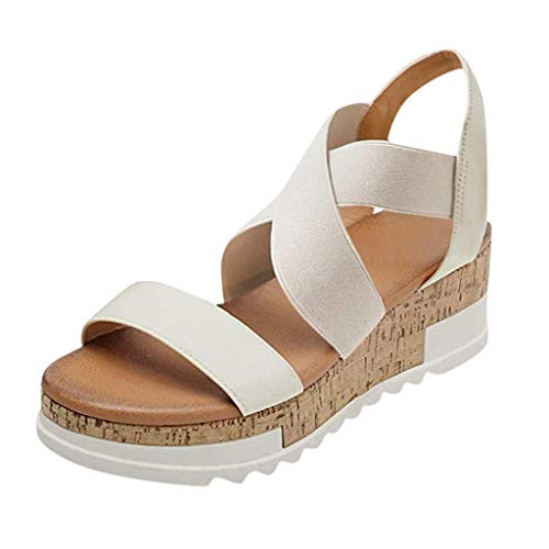 HUADUO Flat Elastic Sandals for Women, Women Flat Sandals Criss-Cross Open Toe Elastic Strap Summer Shoes