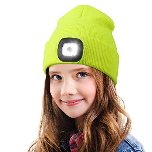 LED Beanie Hat with Light for Kids,Unisex USB Rechargeable Hands Free 4 LED Headlamp Cap Winter Knitted Night Lighted Hat Flashlight Boys Girls Gifts (Fluorescent yellow)