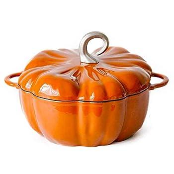 JSMY Stew Pot,Versatile Saucepan with Lid,Casserole in Cast Iron Pumpkin Shape Large Cocotte with Non-Stick Enemal Coating 3.76L/24cm