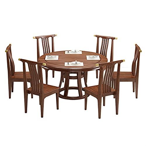 HMBB Mesa de comedor, mesa de sándalo de seda de oro Mesa de comedor y silla Combinación de 7 piezas Conjunto de comedor rectangular Mesa de comedor Muebles 1 mesa + 6 sillas 135x135x75cm