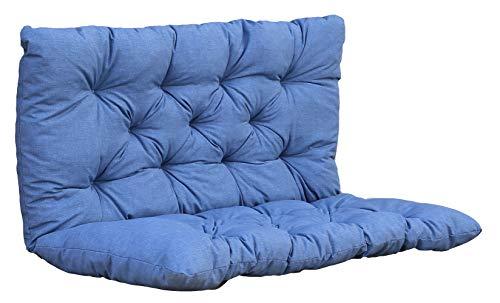 Ambientehome Auflage Bankkissen Bankauflage Polsterkissen, 100 x 98 x 8 cm, blau/grau