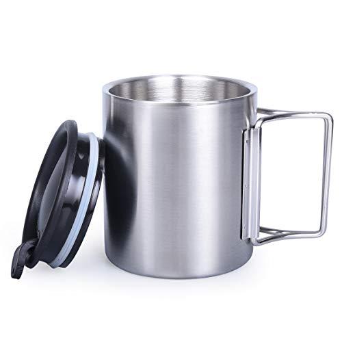 iBasingo taza de té de acero inoxidable con doble pared con
