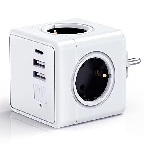 UniHom Würfel Steckdosenleiste mit USB, Mehrfachsteckdose Cube Steckdosenwürfel Ohne Kabel, 4 Fach Steckdose 2 USB mit Schalter 1 Typ-C,7in1 Mehrfachstecker für Reise Haushalt Büro,Überspannungsschutz