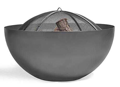 BlackOrange Designer Feuerschale Moon Ø 85 cm mit Funkenschutzhaube Hood Ø 79 cm aus Siebgewebe