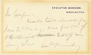President William Mckinley - Autograph Note On White House Card Signed