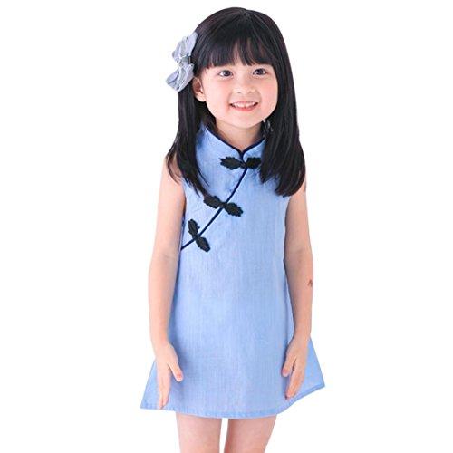 K-youth Vestido para Niñas, Vestido de Niña Sin Mangas Color sólido Vestido Cheongsam Princesa Vestido Primavera Verano Ropa (Azul, 2/3 años)