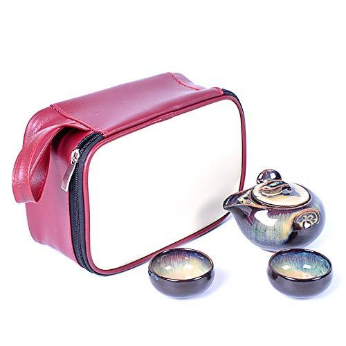 QCCOKNN Juego de té esmaltado incluye 2 tazas de té, 1 tetera, 1 bolsa, cielo estrellado de porcelana exquisito, juego de taza de té Kung Fu