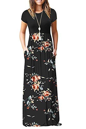 AUSELILY Women's Short Sleeve Printed Print Floral Pleated Dress Loose Maxi Dresses Casual Long Dresses with Pockets(L,Rose Black)