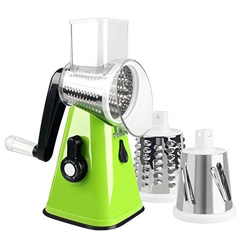 Kitchen gadgets 3 In1 Vegetable Mandoline Slicer Swift Rotary Drum Grater Nut Shredder Veggie Cutter Peeler Spiralizer Veggie Chopper Tools (Color : 2 green)