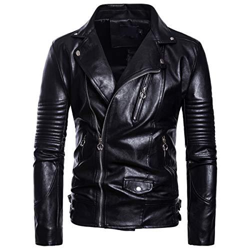 AoWOFS Heren leren jack Gothic Slim Fit kunstlederen jack met opklapbare kraag bikerjas modern zwart