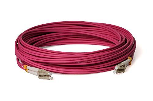 CONBIC® LWL Glasfaser-Kabel – 50m OM4 LC auf LC Stecker, Duplex 50/125 Patchkabel – Lichtwellenleiter 50m (Indoor Cable)