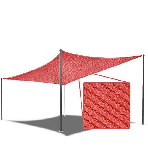 E&K Sunrise 3' x 8' Red Sun Shade Sail Rectangle Canopy - Permeable UV Block Fabric Durable Patio Outdoor Set of 1