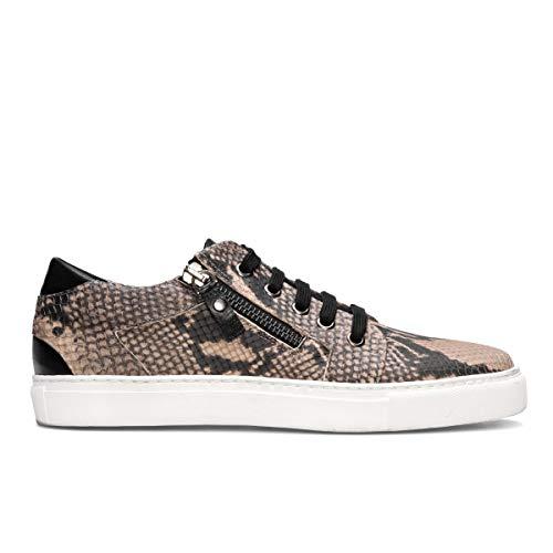 Beth - Zapatillas Sneakers Deportivas Blancas de Vestir para Mujer en Piel - Planos Suela Gorda Blanca - Cierre CremalleraCordoneras - Moda Sport Casual -