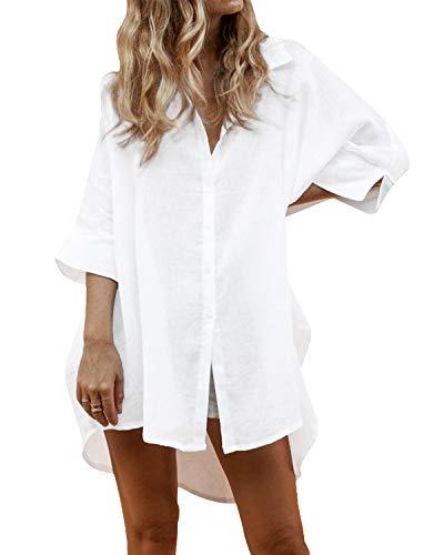 Auxo Damen Blusen V-Ausschnitt Longshirts 3/4 Arm Oversize Strand Hemd Tunika Oberteil 03-weiß Medium