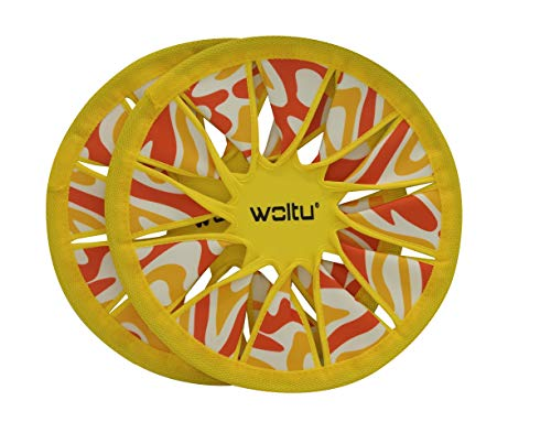 Dynamic24 2 x Neopren Frisbee 30cm Wurfscheibe Frisbeescheibe Set Strand Spiel Scheibe gelb