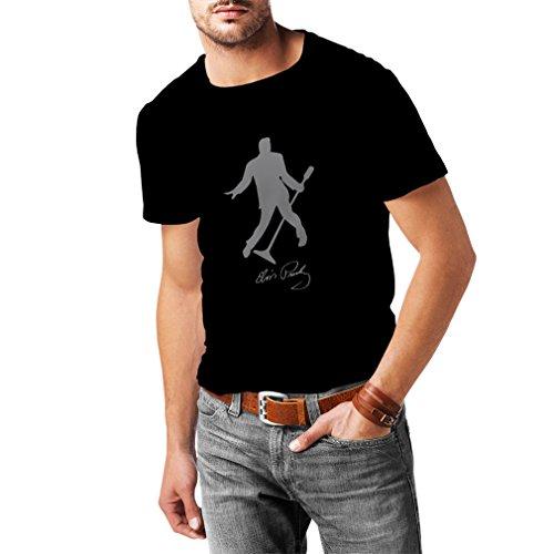 lepni.me Camisetas Hombre Me Encanta el King of Rock and Roll, 50s, 60s, 70s, Music Fan (X-Large Negro Plata)