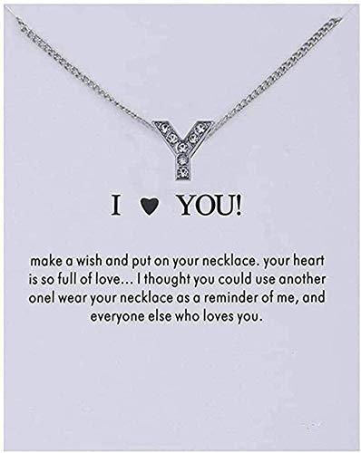 Yiffshunl Collar de Moda para Mujer, Alfabeto de Cristal, Letras Iniciales, Tarjeta de Mensaje, Collar, Colgante, Collares para Mujer, joyería te Amo
