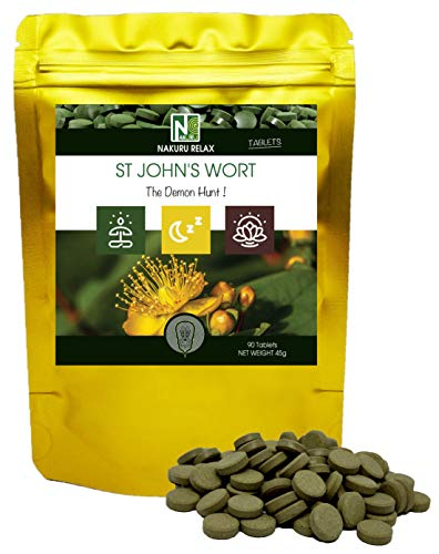 St. John's Wort | 90 Tablets of 500mg | NAKURU Relax | Powder Dried and Cold Compressed | Analyzed and Conditioned in France |' The Demon Hunt !'