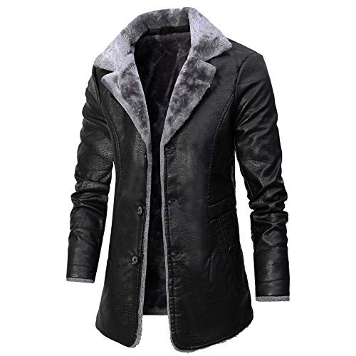 HYISHION Winter Parka mit Fell-Imitat Jacke Mantel Echtleder Herren Königs Mantel mit Kunstpelz und Fellkragen Mantel Fleecejacke,Schwarz,M