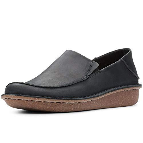 Clarks Funny Go Slipper, Schwarz (Black Leather Black Leather), 35.5 EU