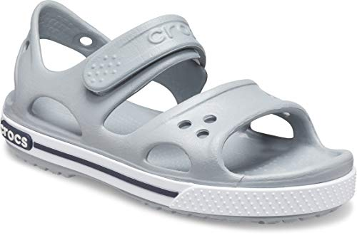 Crocs Kids' Crocband II Toddler Sandal | Comfortable Slip On Shoes for Kids, Light Grey/Navy, 9 US Toddler