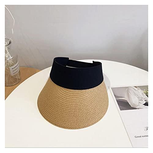 CDDKJDS Cinta Mágica Mujer Sombrero De Paja Vacío Top De Verano Sombrero Sol Protección Al Aire Libre Deportes Pesca Playa Pala (Color : Khaki, Size : One Size)