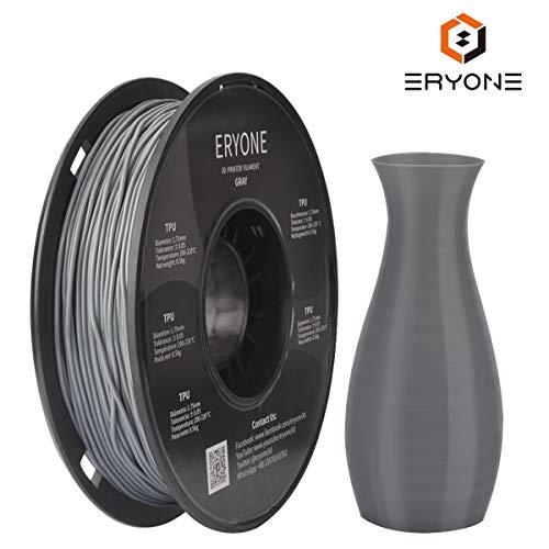 Filament TPU 1.75mm, Eryone TPU Filament 1.75mm, 3D Drucken Filament TPU for 3D Drucker, 0.5kg 1 Spool, Grau
