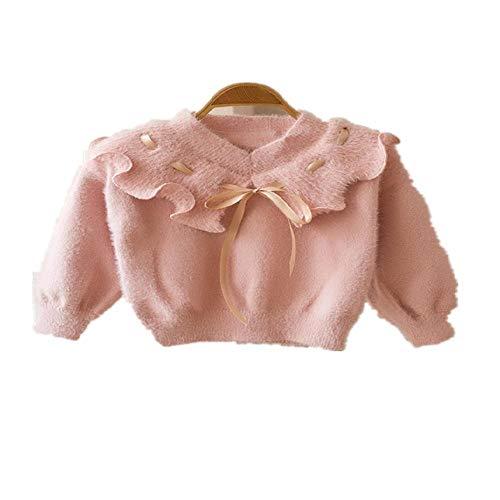 NOBRAND - Suéter para niña, otoño e Invierno, Cuello de Hoja de Loto, Parte Superior de visón para bebé, Camiseta de Color Caramelo Jersey de Punto con Cuello en V 80 cm