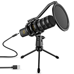 USB Microphone, ZINGYOU Plug & Play Condenser PC Mac Computer Mic Kit with Adjustable Tripod Stand Headphone Jack Volume Knob for YouTube Twitch Skype Gaming Cortana Discord ZY-UD1(Black)