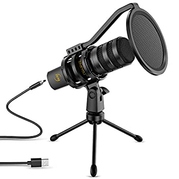USB Microphone ZINGYOU Computer Gaming Microphone Condenser Mic 192kHz/24Bit for Streaming Podcasts YouTube Skype Twitch Compatible with Windows macOS Laptop PC ZY-UD1 Black