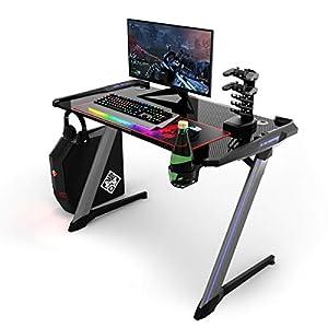COSTWAY Mesa de Gaming Mesa de Juego Ergonómica Mesa para Computadora con Iluminación RGB,Portavasos y Soporte para…