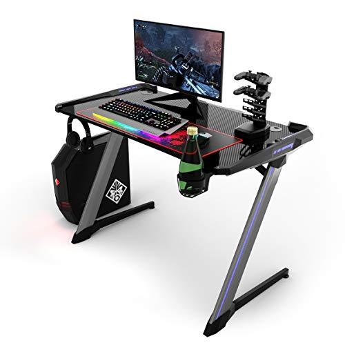 COSTWAY Mesa de Gaming Mesa de Juego Ergonómica Mesa para Computadora con Iluminación RGB,Portavasos y Soporte para Auriculares