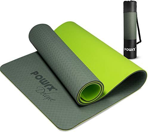 POWRX Yogamatte Deluxe inkl. Tragegurt + Tasche I Gymnastikmatte Übungsmatte 171x61x1cm rutschfest für Yoga Pilates I WELTNEUHEIT einzigartige Innovative 3-Lagen-Technologie Oliv + Hellgrün