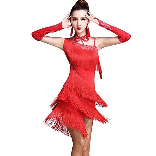 Señoras Vestido De Baile Borla Salón De Baile Tango Vestido De Baile Latino Traje De Competencia Falda De Baile con Flecos Y Lentejuelas para Mujer,Rojo,M