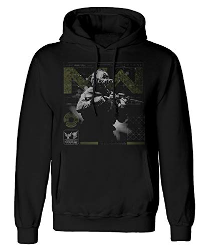 Call of Duty Modern Warfare - Soldier Pose Green - Sudadera Negra para Hombre con Capucha, impresión Frontal - Producto Oficial (XL)