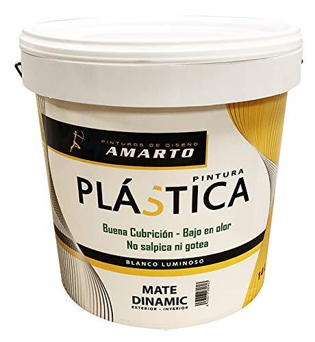 Pintura plastica mate dinamic Interior/Exterior especial para protección y decoración en paredes de interior y exterior (4 L, Blanco mate)