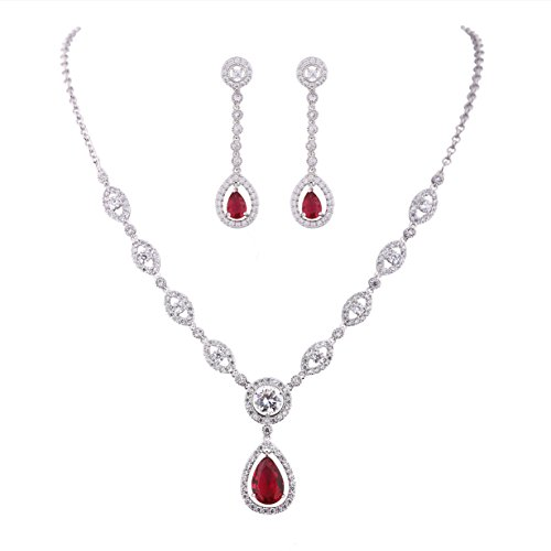 GULICX White Gold Plated Ruby Color Red Jewelry Set Necklace Earrings Wedding Party Jewelry Silver Plated