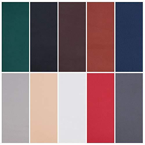 BENECREAT 10PCS Leder Reparatur Patch - Selbstklebend f¨¹r Sofa Autositze und Taschen, 8 Zoll von 4 Zoll, 10 Farben