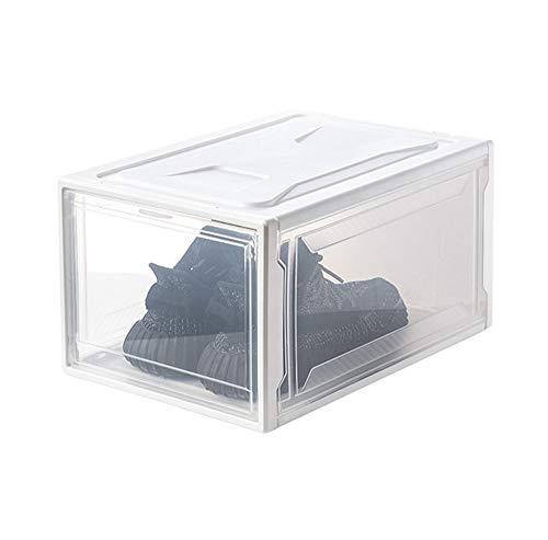 NACEO Schuhkarton Kunststoff Aufbewahrungsbox Vorne Offen, Faltbar Und Stapelbar Herren Sneakers Organizer Box (Schwarz/Weiß),WhiteLarge