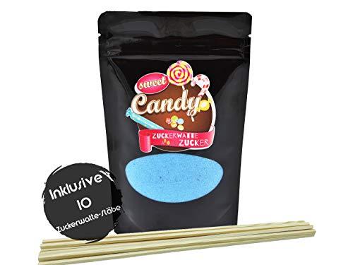 Hopser Food Fun Aromazucker Inklusive 10 Zuckerwattestäbe   Geschmack Kaugummi   Farbzucker für Zuckerwatte, Zuckerwattemaschinen, Popcorn, Dekorieren, 1 x 180g