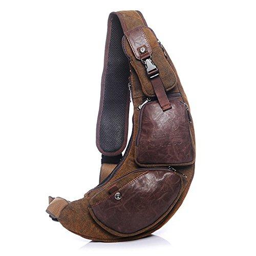 Outreo Brusttasche Herren Umhängetasche Retro Schultertasche Vintage Reisetasche Messenger Taschen Canvas Sporttasche für Sport Herrentaschen Back Pack Tasche