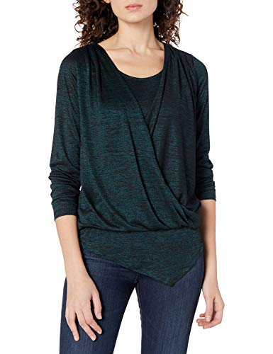 Allison Brittney Women's Longsleeve V-Neck Top with Surplice Overlay & Asymmetrical Bottom, Green, S