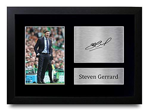 HWC Trading P Steven Gerrard Envolver Rangers Impresos Autógrafos Imagen para El Ventilador Y Los Partidarios - A4 Enmarcados
